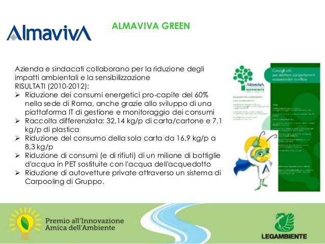 XIII edizione del Premio Innovazione Amica dell'Ambiente 2013 - Almaviva Green