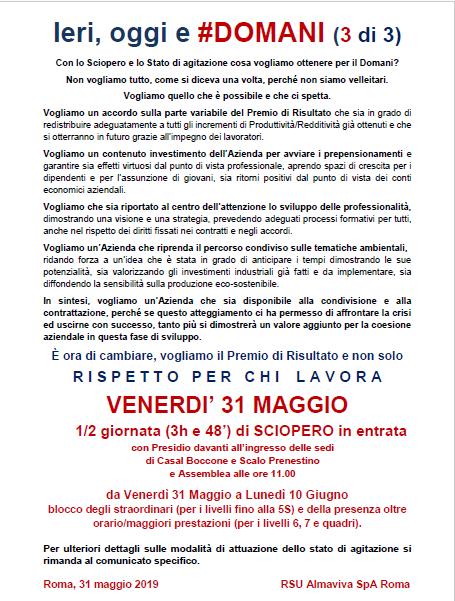 sciopero 31MAG DOMANI