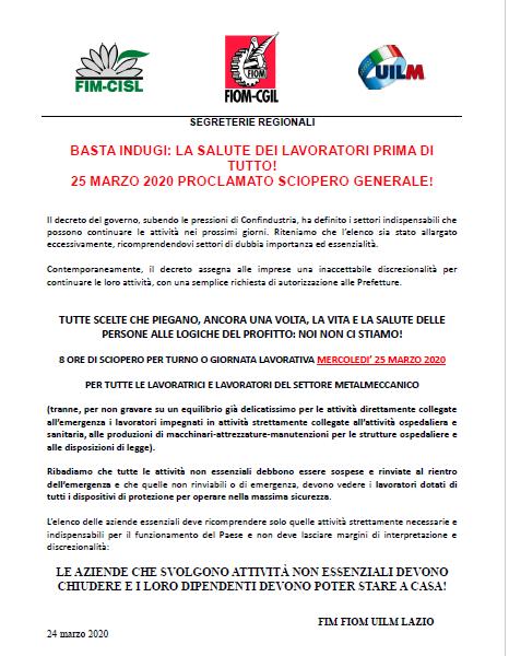 sciopero generale 25marzo2020
