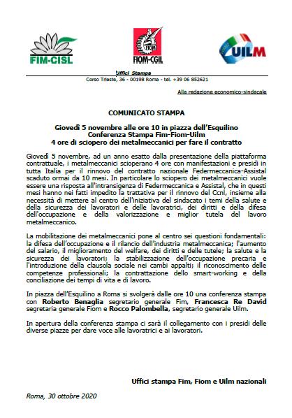 comunicato stampa Fim-Fiom-Uilm iniziativa piazza esquilino 5 novembre