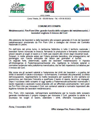 comunicato-unitario-sciopero-5-novembre-2020