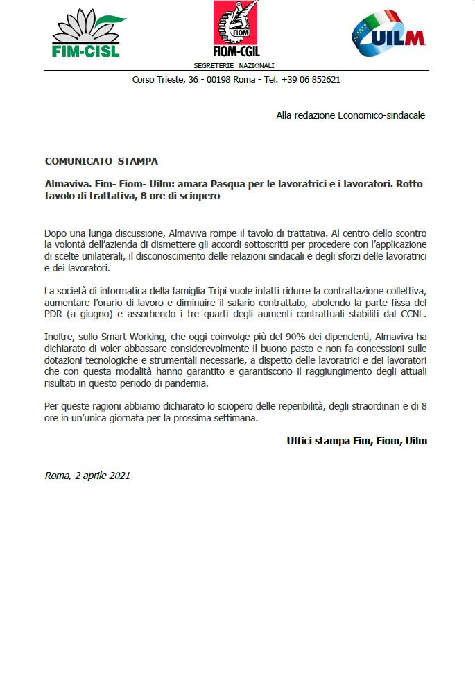 COMUNICATO UNITARIO ALMAVIVA 2 APRILE 2021