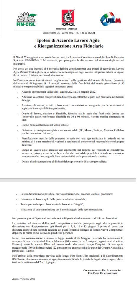 Ipotesi di Accordo Lavoro Agile e Riorganizzazione Area Fiduciarie